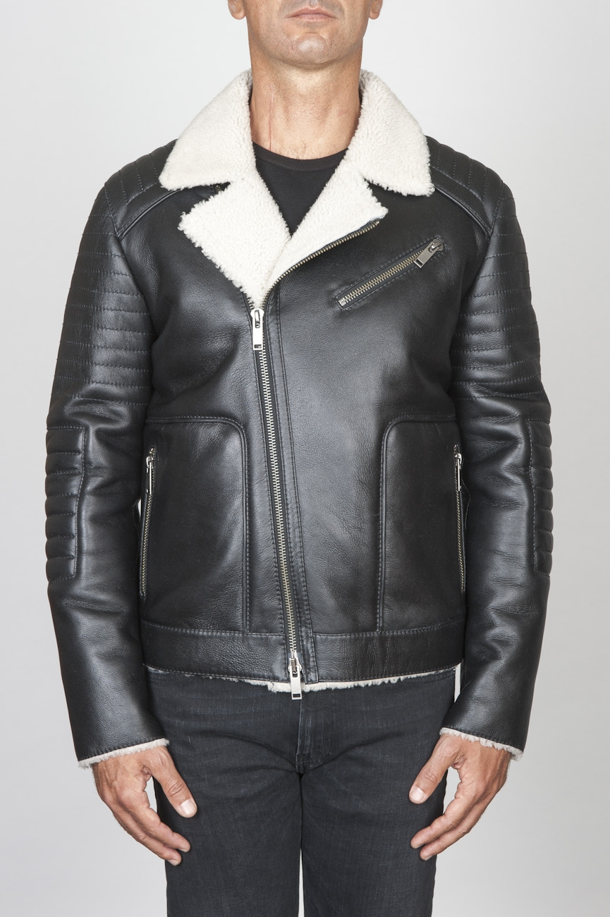 SBU 00447 Classic motorcycle jacket nera in montone 01