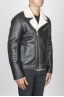 SBU 00447 Classic motorcycle jacket in black sheepskin leather 02