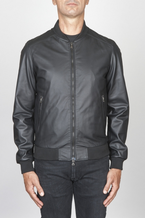 SBU 00448 Classic flight jacket in black calf-skin leather 01