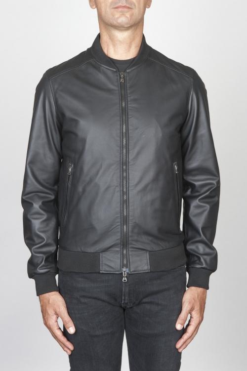 SBU 00448 Classic flight jacket nera in pelle di vitello 01