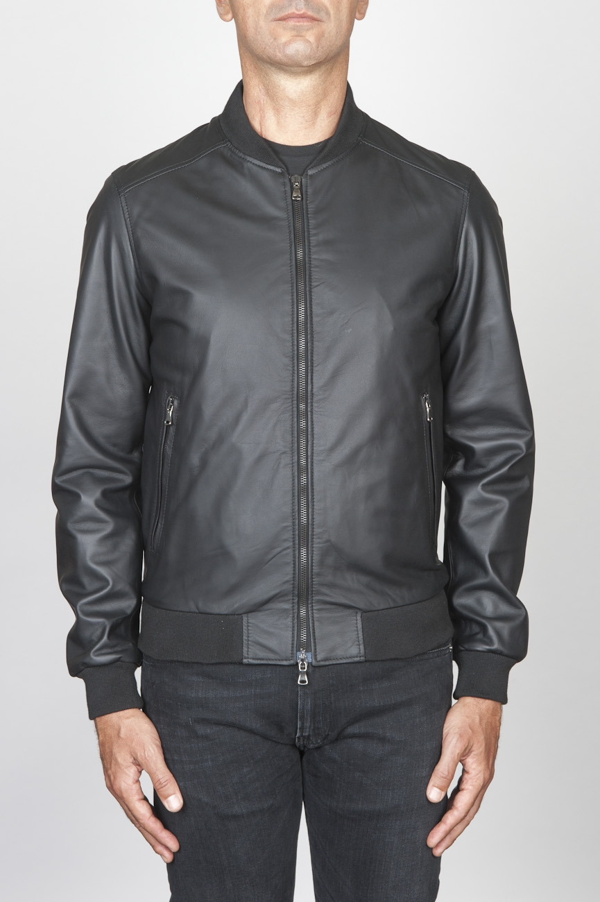 SBU 00448 Classic flight jacket in black calf-skin leather 01