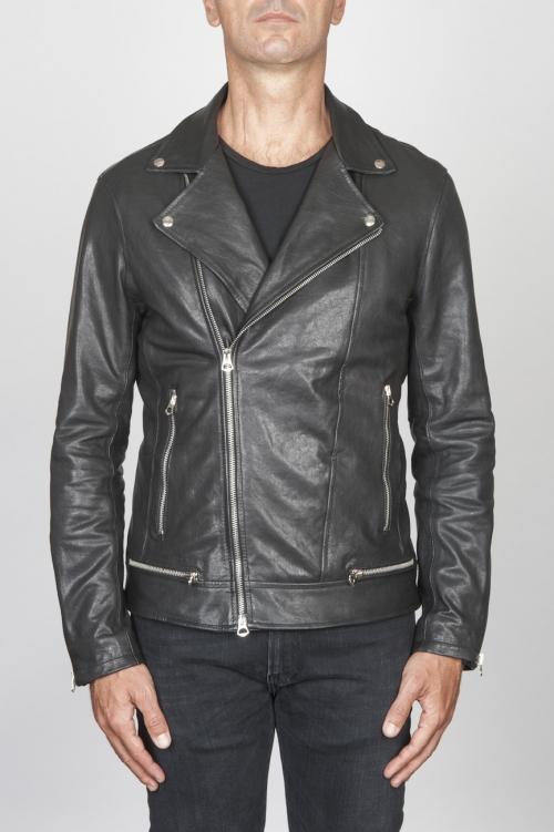 SBU 00449 Classic biker jacket in black calf-skin leather 01