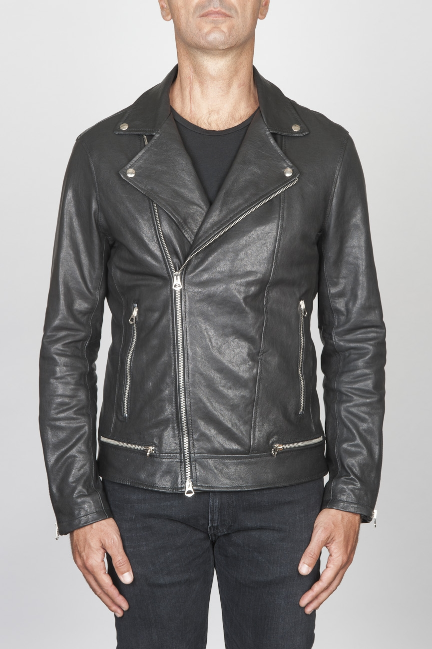 SBU 00449 Classic biker jacket in black calf-skin leather 01