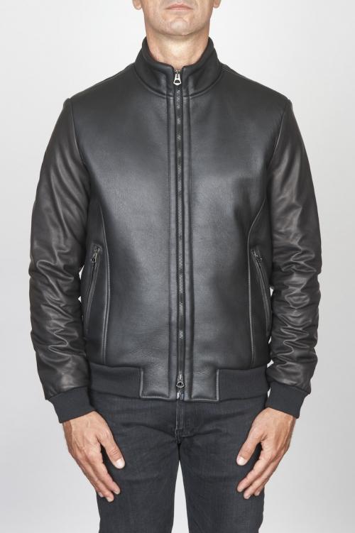 SBU 00450 Classic flight jacket nera in montone di agnello 01