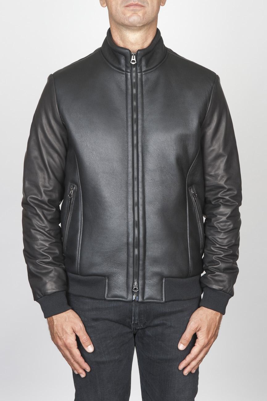 SBU 00450 Classic flight jacket in black lambskin leather 01