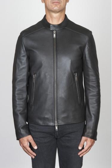 SBU 00451 Classic biker jacket nera in pelle di vitello 01