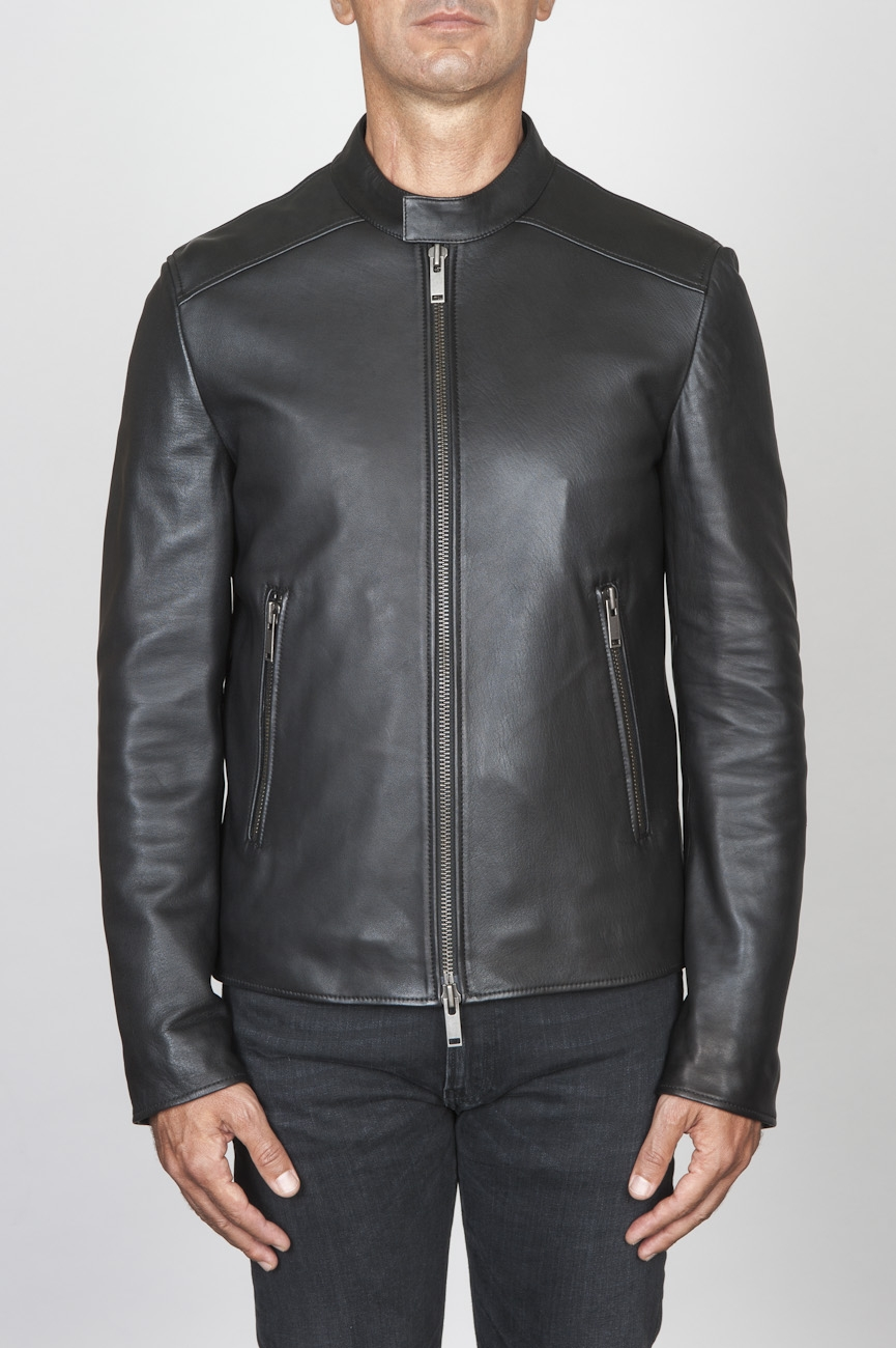 SBU 00451 Veste de motard classique en cuir de veau noir 01