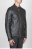 SBU 00451 Classic biker jacket nera in pelle di vitello 02