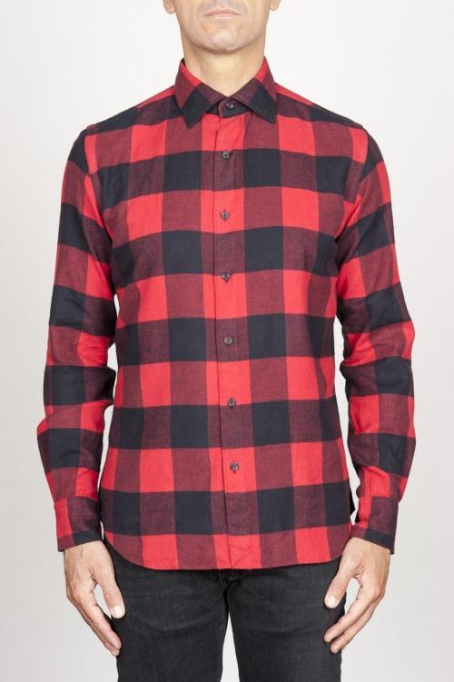 SBU 00981 Chemise classique à carreaux rouge et noir à col pointu en coton 01