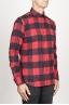 SBU 00981 Chemise classique à carreaux rouge et noir à col pointu en coton 02