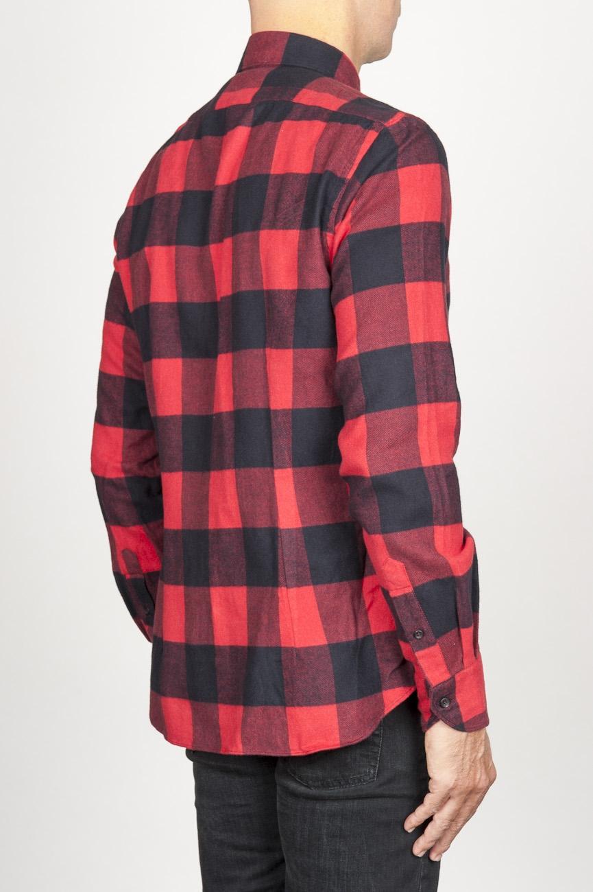a611cbd98c3ad ... SBU 00981 Clásica camisa roja y negra de cuadros de algodón con cuello  de punta 03 ...