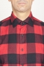 SBU 00981 Classic point collar red and black checkered cotton shirt 05
