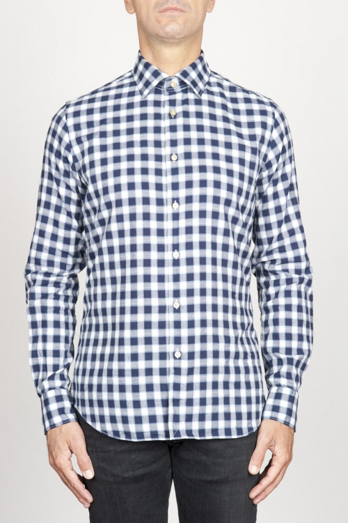 SBU 00982 Classic point collar white and black checkered cotton shirt 01