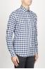 SBU 00982 Clásica camisa blanca y negra de cuadros de algodón con cuello de punta  02
