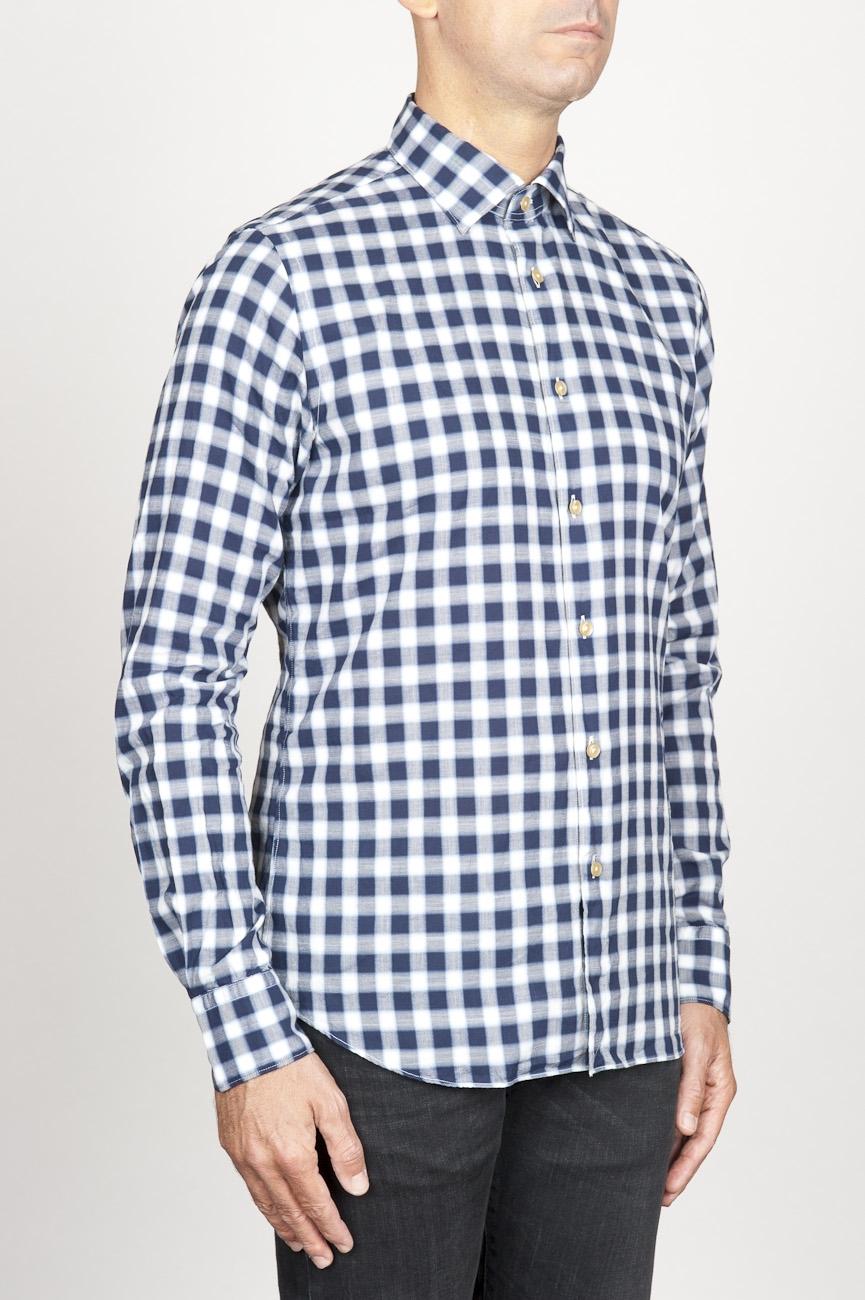 timeless design f935b fe07b Camicia classica collo a punta in cotone a scacchi bianca e nera
