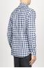 SBU 00982 Clásica camisa blanca y negra de cuadros de algodón con cuello de punta  03
