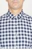 SBU 00982 Camicia classica collo a punta in cotone a scacchi bianca e nera 05