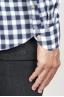 SBU 00982 Camicia classica collo a punta in cotone a scacchi bianca e nera 06