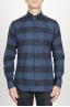 SBU 00983 クラシックなポイントカラーの青と黒のチェッカーの綿のシャツ 01