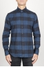 SBU 00983 Classic point collar blue and black checkered cotton shirt 01