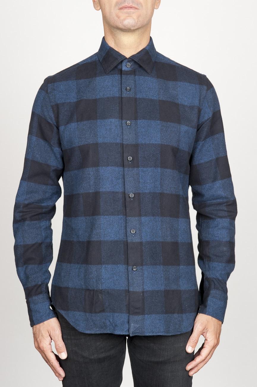 SBU 00983 Clásica camisa azul y negra de cuadros de algodón con cuello de punta  01