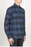 SBU 00983 Chemise classique à carreaux bleu et noir à col pointu en coton 02