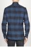 SBU 00983 Clásica camisa azul y negra de cuadros de algodón con cuello de punta  04