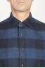 SBU 00983 クラシックなポイントカラーの青と黒のチェッカーの綿のシャツ 05