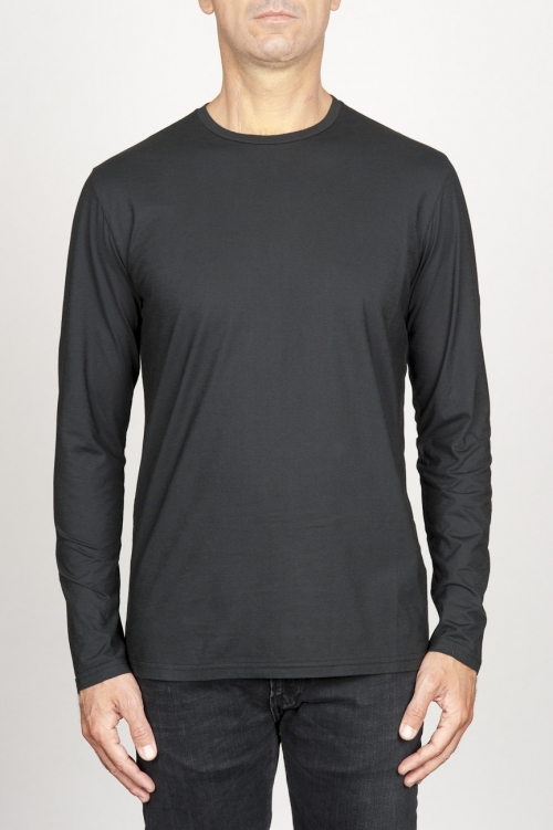 SBU 00984 クラシックな長袖コットンラウンドネックブラックtシャツ 01