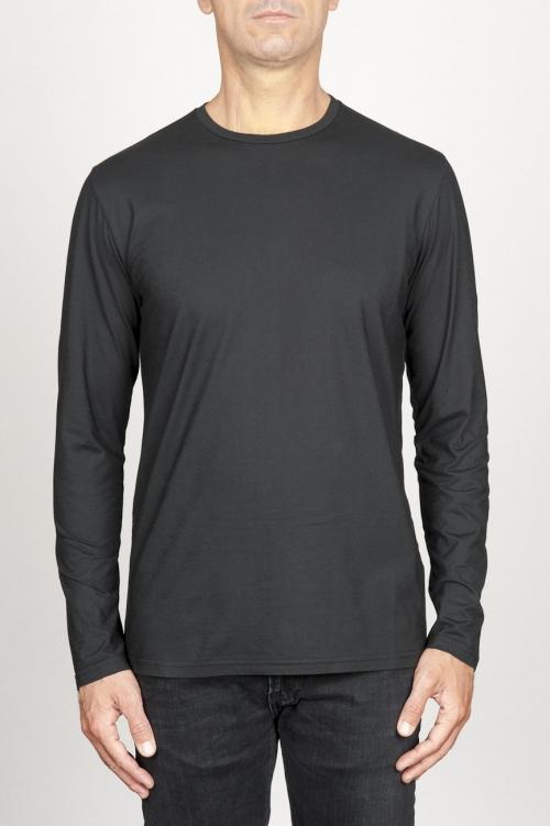 SBU 00984 Classic long sleeve cotton round neck black t-shirt 01