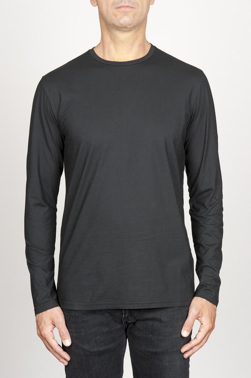 SBU 00984 T-shirt classique noire à mange long de coton à col rond 01