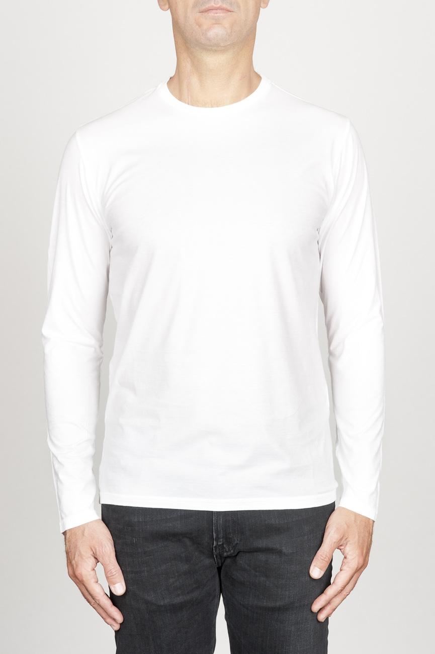 SBU 00985 T-shirt classique blanc à mange long de coton à col rond 01