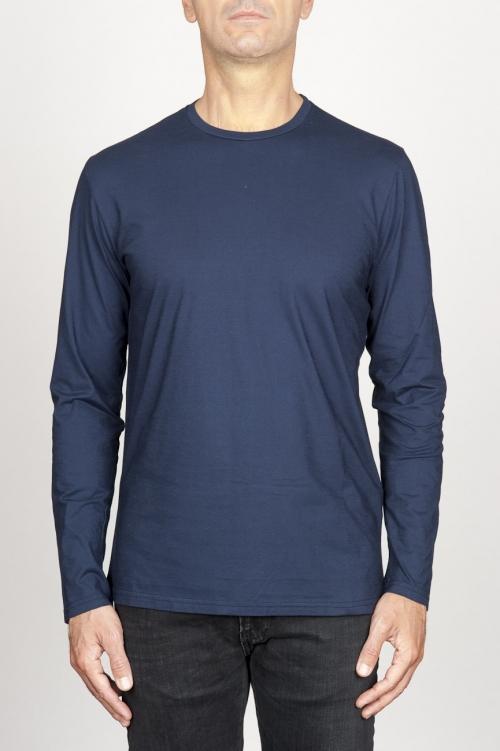 SBU 00986 T-shirt girocollo classica a maniche lunghe in cotone blu 01