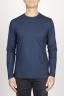 SBU 00986 クラシックな長袖コットンラウンドネックブルーtシャツ 01