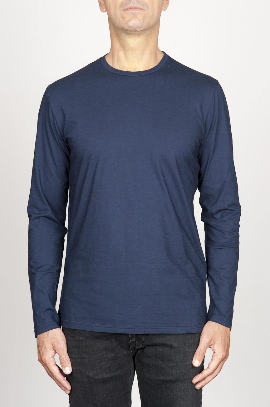 SBU 00986 T-shirt classique bleu à mange long de coton à col rond 01