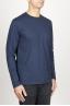 SBU 00986 T-shirt classique bleu à mange long de coton à col rond 02