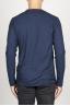 SBU 00986 T-shirt classique bleu à mange long de coton à col rond 04