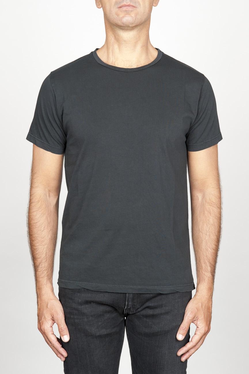 SBU 00987 T-shirt classique noir col rond ouvert manches courtes en coton 01