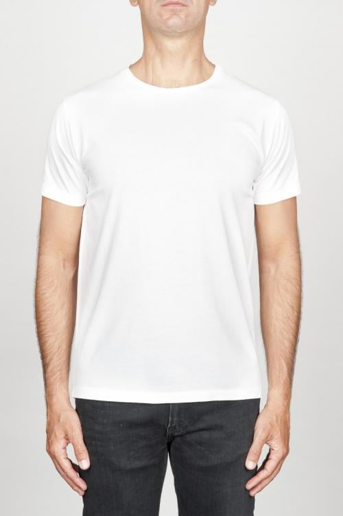 SBU 00988 Clásica camiseta de algodón blanca de cuello redondo amplio y manga corta 01