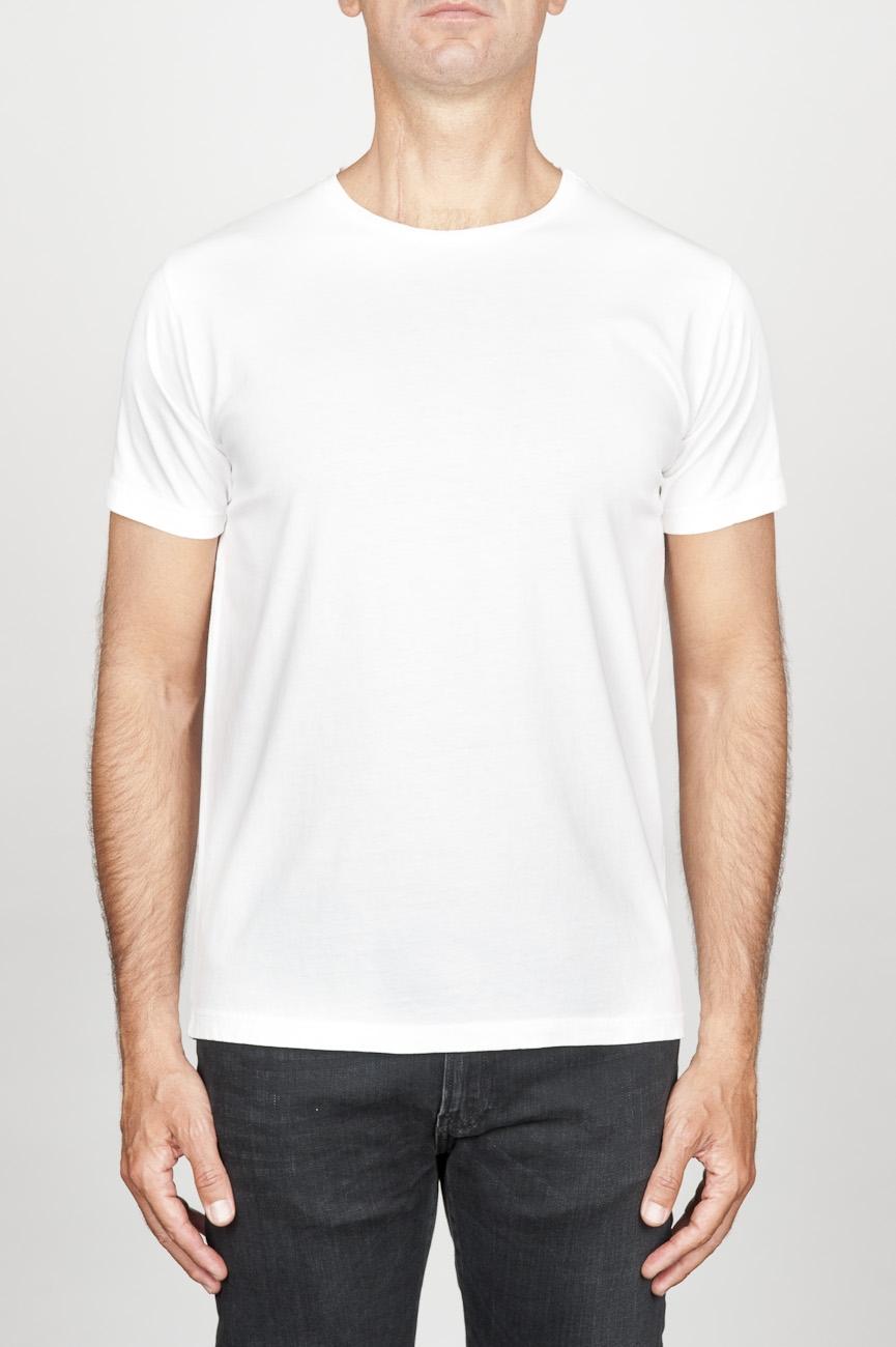 SBU 00988 T-shirt classique blanc col rond ouvert manches courtes en coton 01