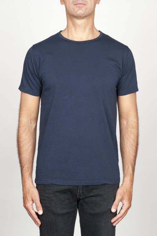 SBU 00989 クラシック半袖コットンスクープネックtシャツブルー 01