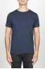 SBU 00989 Clásica camiseta de algodón azul de cuello redondo amplio y manga corta 01
