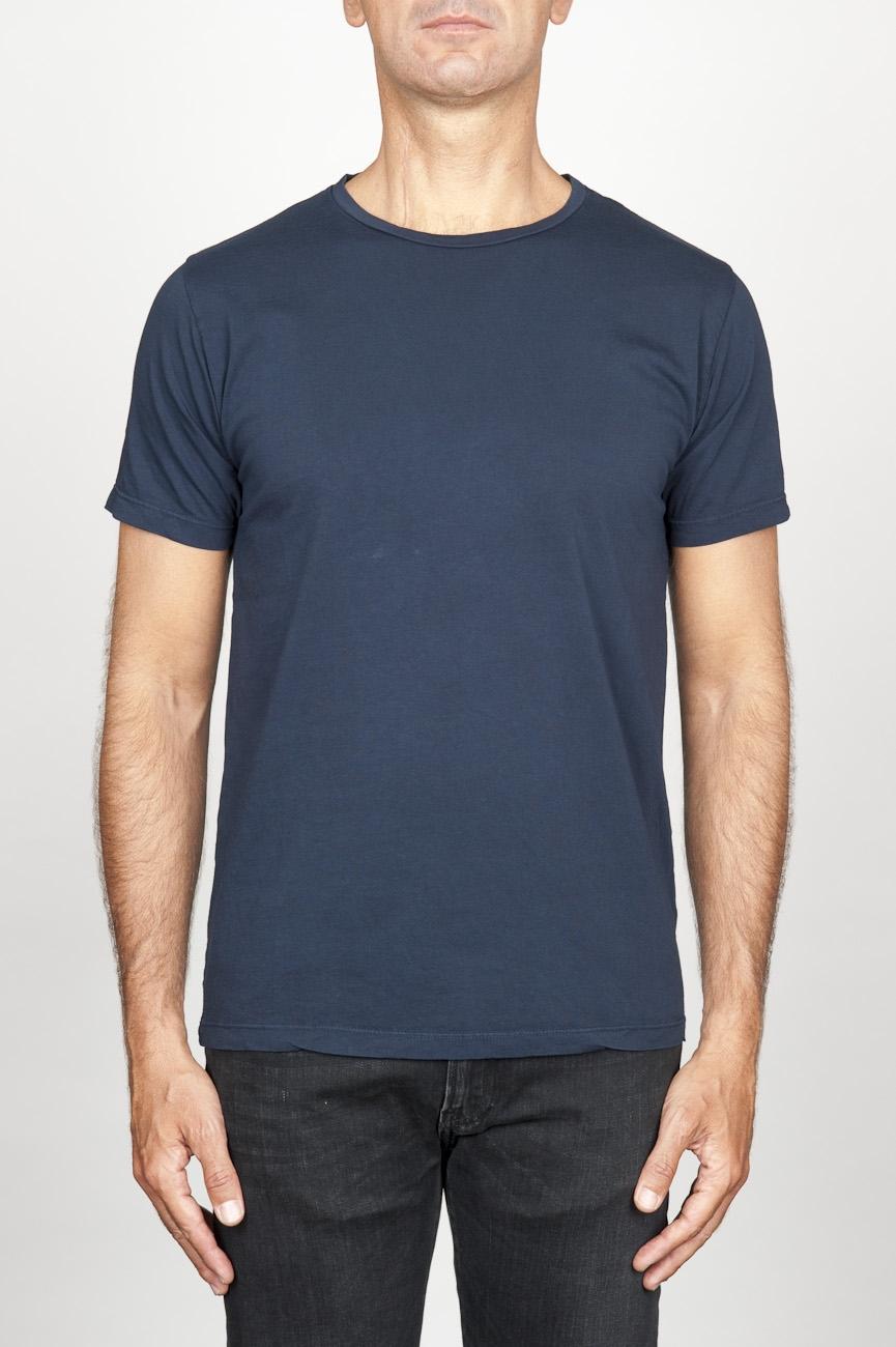 SBU 00989 T-shirt girocollo aperto a maniche corte in cotone blu 01