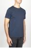 SBU 00989 Clásica camiseta de algodón azul de cuello redondo amplio y manga corta 02