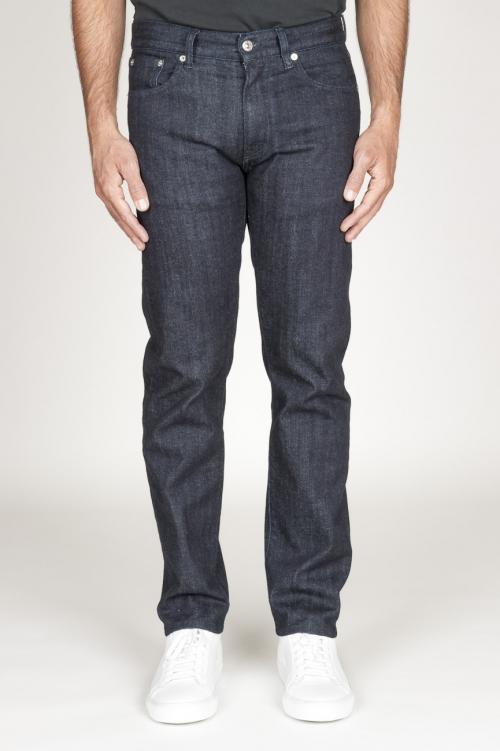 Jeans bleu foncé originaux en denim japonais selvedge teints à l indigo