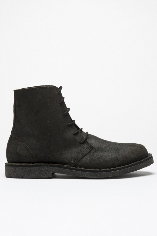 Classic desert boots high top in pelle oliata nere
