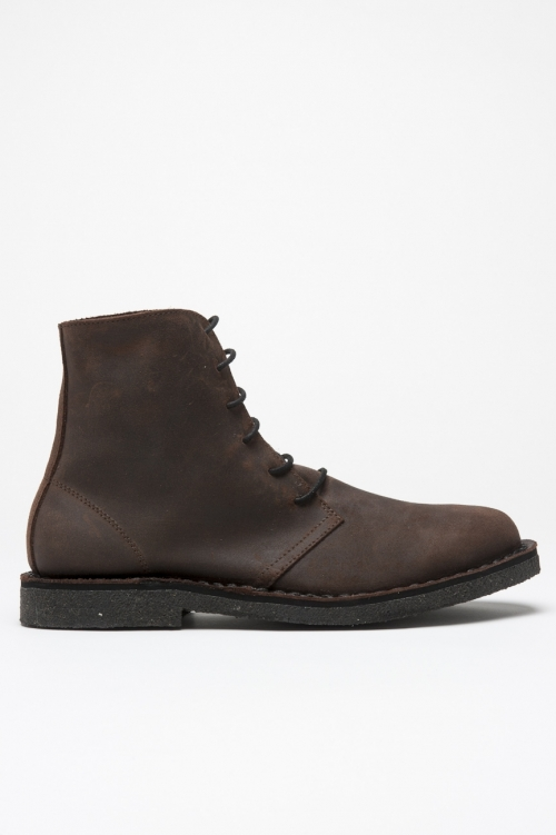 Classic desert boots high top in pelle oliata marroni