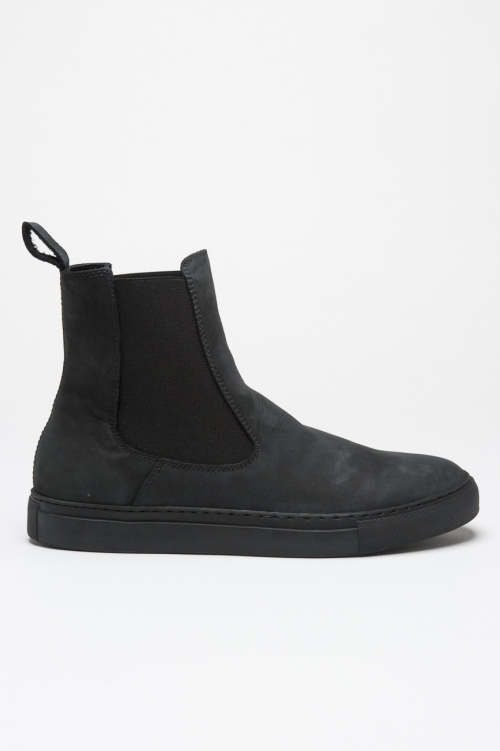 Classic elastic sided boots in grey nabuck leather