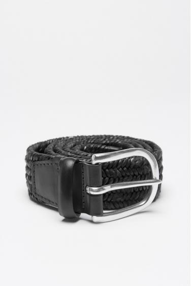 SBU 00997 Cintura in pelle di vitello elasticizzata intrecciata nera 3.5 cm 01
