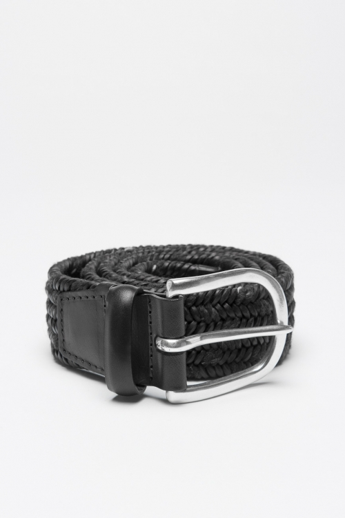 Belt in black calfskin braided leather adjustable buckle closure 1.4 inches
